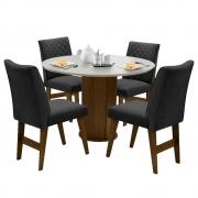 Conjunto Mesa de Jantar Isis com 04 Cadeiras Lorena Castanho/Branco Off/Preto - ADJ DECOR