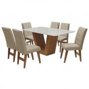 Conjunto Mesa de Jantar Safira com 06 Cadeiras Agata 160cm Cedro/Branco Off/Bege - ADJ DECOR