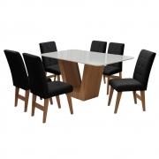 Conjunto Mesa de Jantar Safira com 06 Cadeiras Agata 160cm Cedro/Branco Off/Preto - ADJ DECOR
