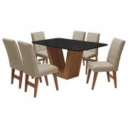 Conjunto Mesa de Jantar Safira com 06 Cadeiras Agata 160cm Cedro/Preto/Bege - ADJ DECOR