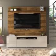 """Estante Home para TV até 65"""" Paris D04 Tronco Ripado/Creme - ADJ DECOR"""