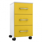 Gaveteiro Office Heitor L01 Branco White/Amarelo - ADJ DECOR