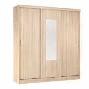 Guarda-Roupa Cecilia D01 3 Portas de Correr com Espelho Avena Touch - ADJ DECOR
