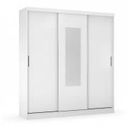 Guarda-Roupa Cecilia D01 3 Portas de Correr com Espelho Branco - ADJ DECOR