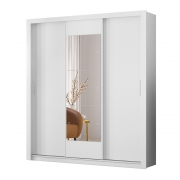 Guarda-Roupa Luma D01 3 Portas com Espelho Branco - ADJ DECOR