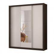 Guarda-Roupa Luma D01 3 Portas com Espelho Flex Ébano/Off White - ADJ DECOR