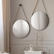 Kit 02 Espelhos Redondo Decorativo Adnet Preto Fosco - ADJ Decor