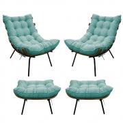 Kit 02 Poltronas e 02 Puffs Costela Base Fixa Suede Azul Tiffany - ADJ Decor