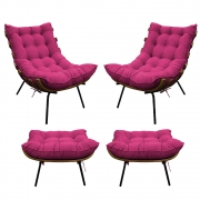 Kit 02 Poltronas e 02 Puffs Costela Base Fixa Suede Pink - ADJ Decor