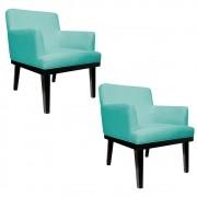 kit 02 Poltronas Vitória Suede Azul Tiffany - ADJ Decor