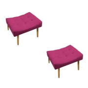 Kit 02 Puff Requinte Palito Mel Suede Pink - ADJ Decor