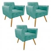 kit 03 Poltronas Stella Palito Mel Suede Azul Tiffany - ADJ Decor
