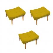 Kit 03 Puff Requinte Palito Mel Corano Amarelo - ADJ Decor
