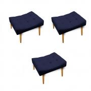 Kit 03 Puff Requinte Palito Mel Corano Azul Marinho - ADJ Decor