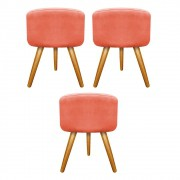 Kit 03 Puffs Carol Palito Mel Suede Coral - ADJ Decor