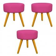 Kit 03 Puffs Sofia Palito Mel Corano Pink - ADJ Decor