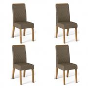 Kit 04 Cadeiras Estofadas Daca D04 Carvalho Europeu/Camurça - ADJ DECOR