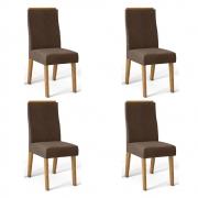 Kit 04 Cadeiras Estofadas Daca D04 Carvalho Europeu/Marrom Café - ADJ DECOR