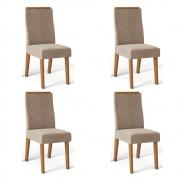 Kit 04 Cadeiras Estofadas Daca D04 Carvalho Europeu/Veludo Cáqui - ADJ DECOR