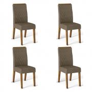 Kit 04 Cadeiras Estofadas Daca D04 Tronco Ripado/Camurça - ADJ DECOR