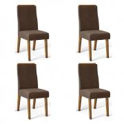 Kit 04 Cadeiras Estofadas Daca D04 Tronco Ripado/Marrom Café - ADJ DECOR