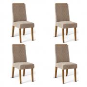 Kit 04 Cadeiras Estofadas Daca D04 Tronco Ripado/Veludo Cáqui - ADJ DECOR