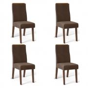 Kit 04 Cadeiras Estofadas Daca D04 Trufa/Marrom Café - ADJ DECOR