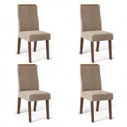 Kit 04 Cadeiras Estofadas Daca D04 Trufa/Veludo Cáqui - ADJ DECOR