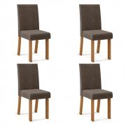 Kit 04 Cadeiras Estofadas Monaco D04 Telha/Marrom Café - ADJ DECOR