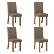 Kit 04 Cadeiras Estofadas Monaco D04 Tronco Ripado/Linho Marrom - ADJ DECOR