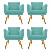 kit 04 Poltronas Dália Palito Mel Suede Azul Tiffany - ADJ Decor