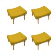 Kit 04 Puff Requinte Palito Mel Suede Amarelo - ADJ Decor