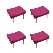 Kit 04 Puff Requinte Palito Mel Suede Pink - ADJ Decor