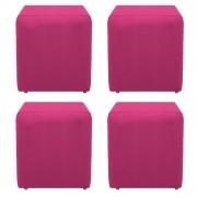 Kit 04 Puffs Decorativos Dado Suede Pink - ADJ Decor