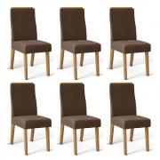 Kit 06 Cadeiras Estofadas Daca D04 Carvalho Europeu/Marrom Café - ADJ DECOR