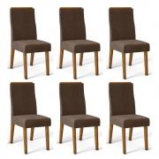 Kit 06 Cadeiras Estofadas Daca D04 Tronco Ripado/Marrom Café - ADJ DECOR