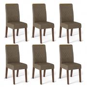 Kit 06 Cadeiras Estofadas Daca D04 Trufa/Camurça - ADJ DECOR