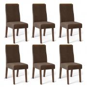 Kit 06 Cadeiras Estofadas Daca D04 Trufa/Marrom Café - ADJ DECOR