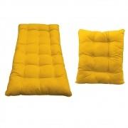Kit Almofadas para Poltrona e Puff Costela Corano Amarelo - ADJ Decor
