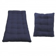 Kit Almofadas para Poltrona e Puff Costela Corano Azul Marinho - ADJ Decor