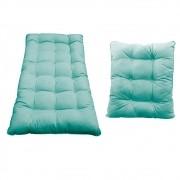 Kit Almofadas para Poltrona e Puff Costela Suede Azul Tiffany - ADJ Decor