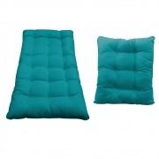 Kit Almofadas para Poltrona e Puff Costela Suede Azul Turquesa - ADJ Decor