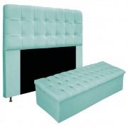 Kit Cabeceira e Calçadeira Baú Estofada Mel 195 cm King Size Com Botonê Suede Azul Tiffany - ADJ Decor