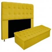 Kit Cabeceira e Calçadeira Baú Estofada Mel 195 cm King Size Com Capitonê Suede Amarelo - ADJ Decor
