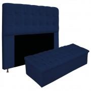 Kit Cabeceira e Calçadeira Baú Estofada Mel 195 cm King Size Com Capitonê Suede Azul Marinho - ADJ Decor