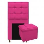 Kit Cabeceira e Calçadeira Copenhague 100 cm Solteiro Suede Pink - ADJ Decor