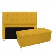 Kit Cabeceira e Calçadeira Copenhague 140 cm Casal Suede Amarelo - ADJ Decor