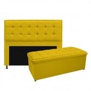 Kit Cabeceira e Calçadeira Copenhague 160 cm Queen Size Corano Amarelo - ADJ Decor