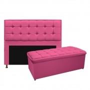 Kit Cabeceira e Calçadeira Copenhague 160 cm Queen Size Corano Pink - ADJ Decor
