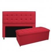Kit Cabeceira e Calçadeira Copenhague 160 cm Queen Size Suede Vermelho - ADJ Decor